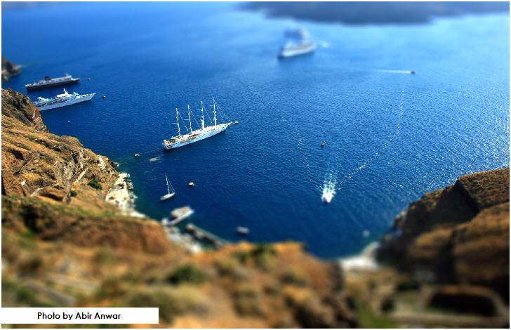 Tilt Shifted view of Cruise Liners docking in Santorini, Greece