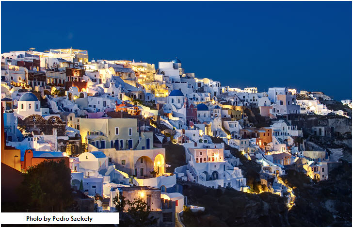 Oia, Santorini, Greece at Blue Hour
