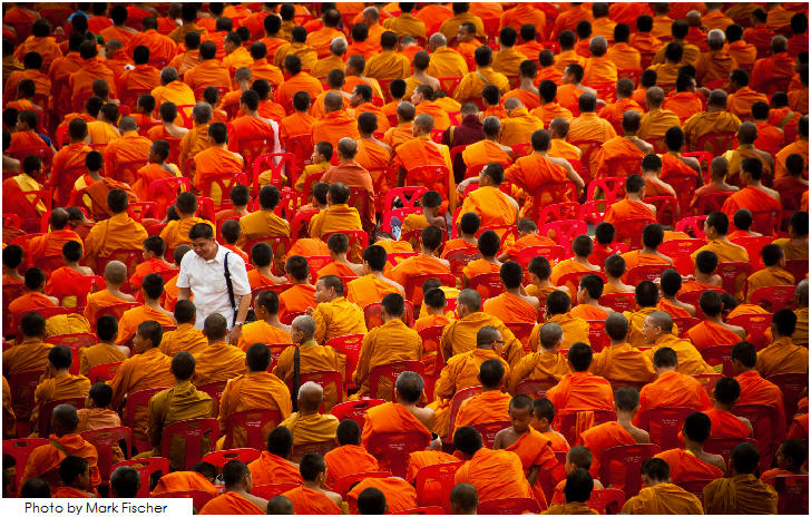 Bangkok, alms giving ceremony