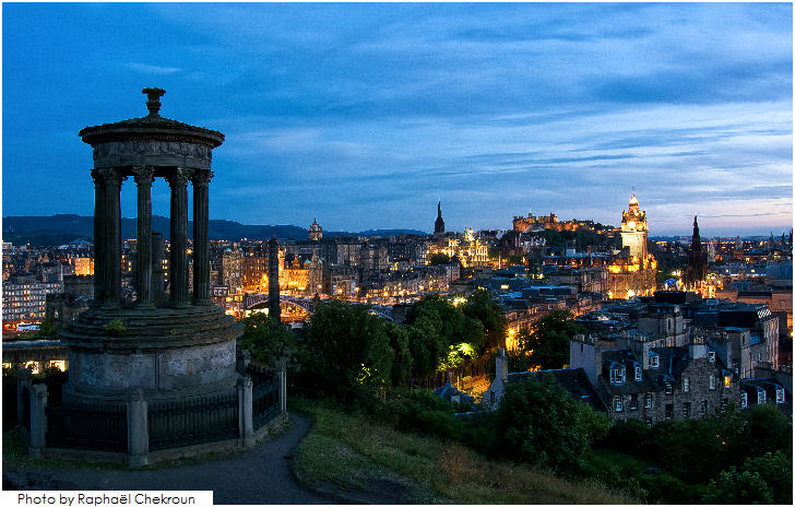 Night in Edinburgh from Calton Hill