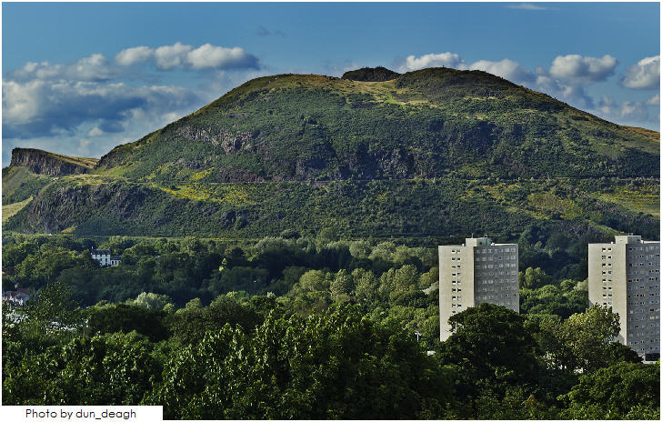 Arthur's Seat Edinburgh, view from the battlements of Craigmillar Castle