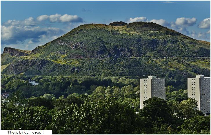 Arthur's Seat Edinburgh, view from the battlements of Craigmillar Castle