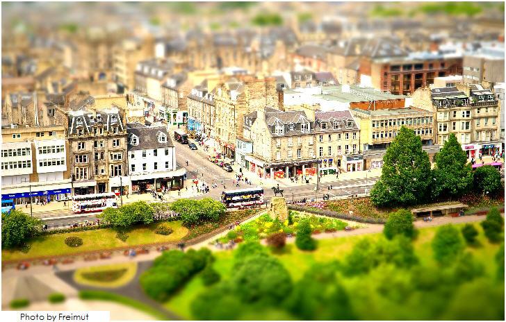 Tilt-Shift view of Princes Street from Edinburgh Castle