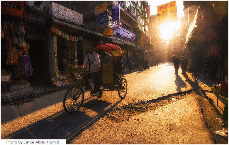 Tricycle at Thamel , Kathmandu during sunset.