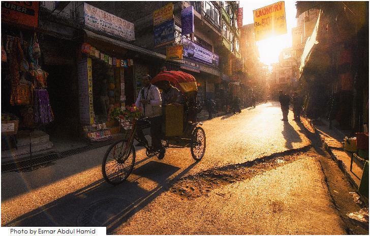 Tricycle at Thamel , Kathmandu during sunset.