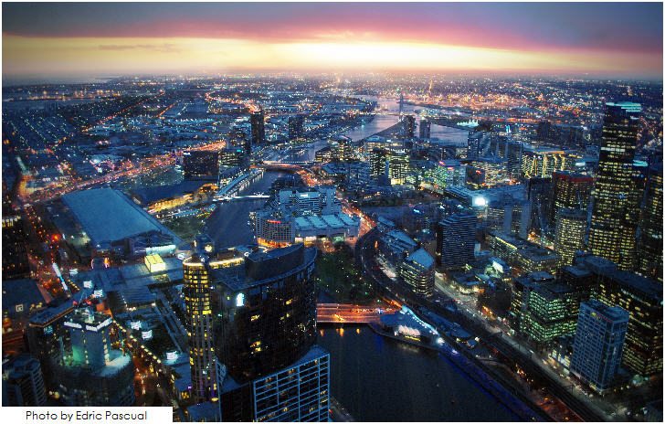 Melbourne's skyline from Eureka Tower level 88