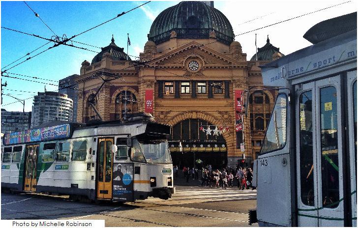 Flinders Street Station and trams, Melbourne
