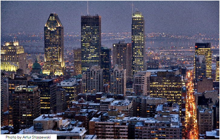 Night view of downtown Montréal, Canada