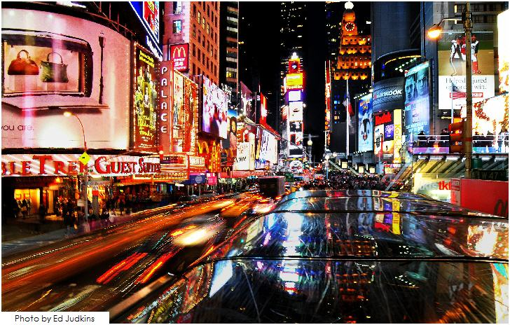 New York City, Street view at night