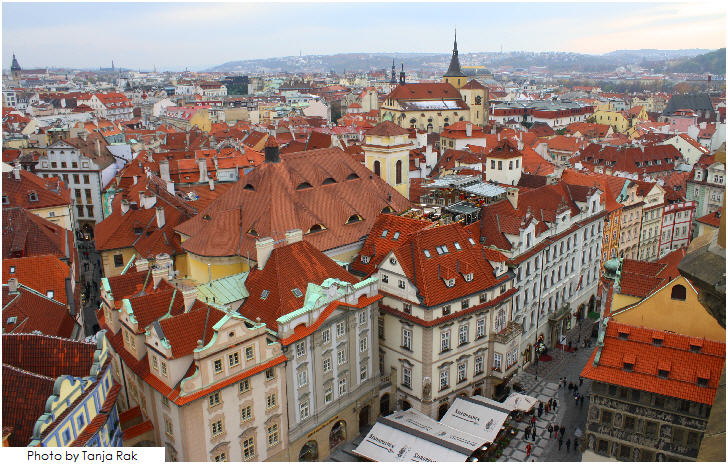 Prague, the red roofs of the city's old town