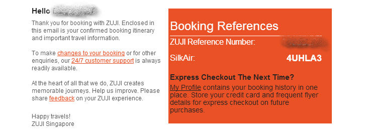 Confirmed booking itinerary from ZUJI