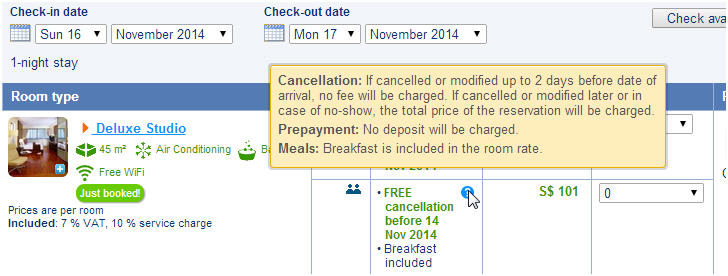 Free cancellation with Terms and conditions with no Prepayment