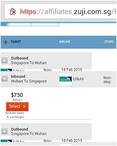 Returned flight searches on ZUJI 7 Oct