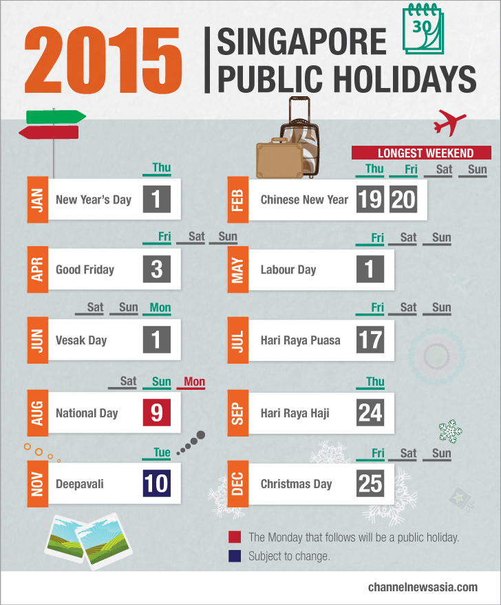 List of public holidays in 2015