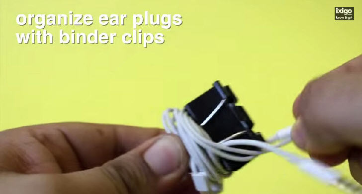 Organize ear plugs with binder clips