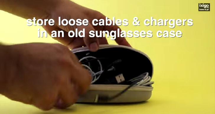 Store loose cables & chargers in an old sunglasses case