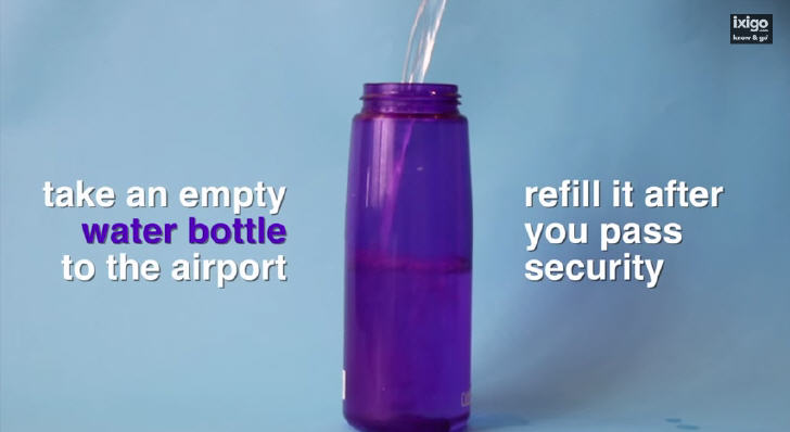 Take an empty water bottle to the airport and refill it after you pass security