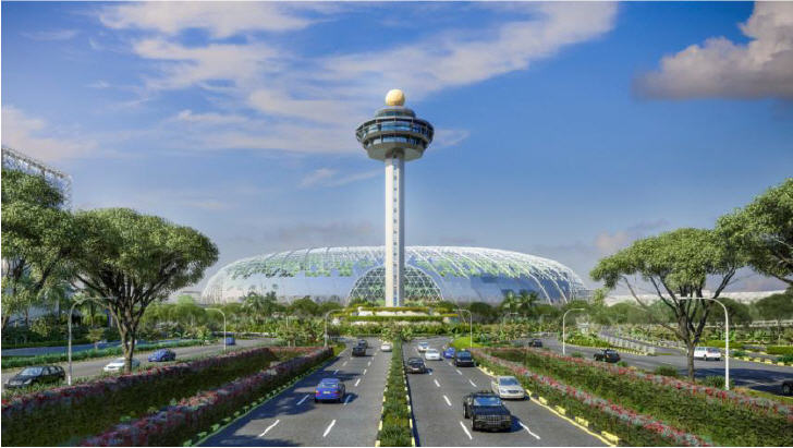 Jewel Changi Airport, view from Airport Boulevard