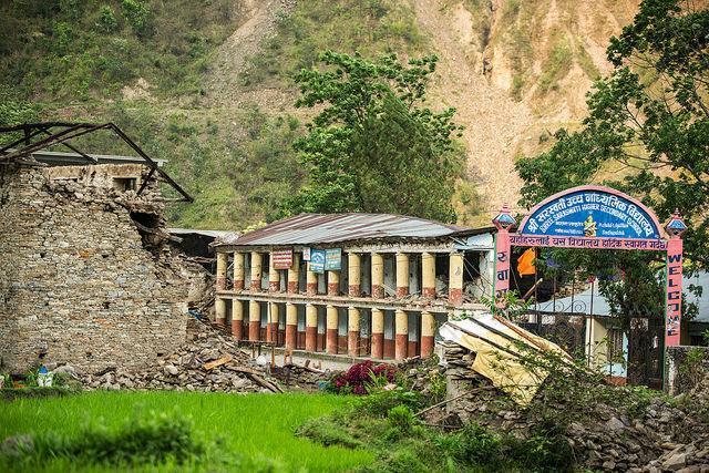 Damaged school building in Sindhupalchowk district