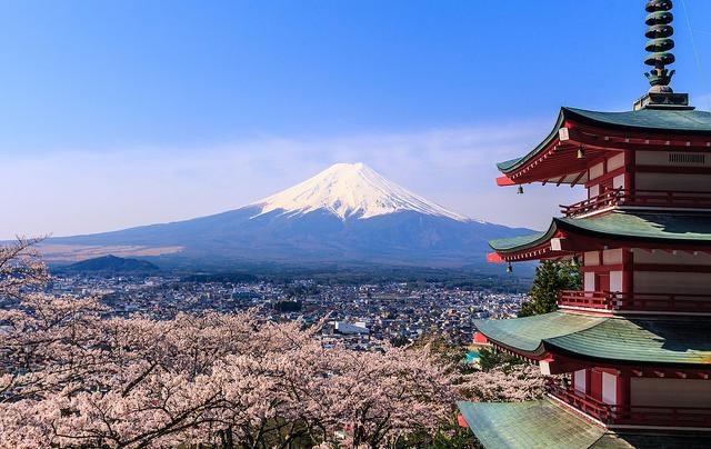 Mount Fuji, an active volcano between Yamanashi and Shizuoka Prefectures