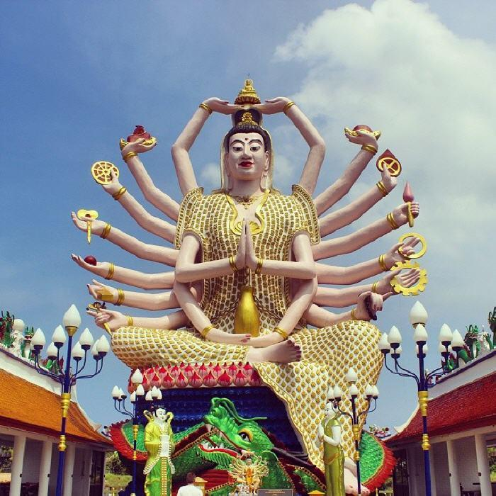 Guanyin, the 18 armed Goddess of compassion and mercy, Wat Plai Laem
