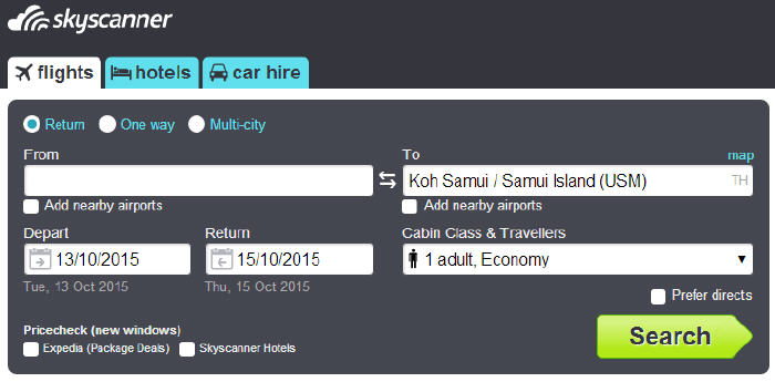 Search for cheap flight to Ko Samui with Skyscanner