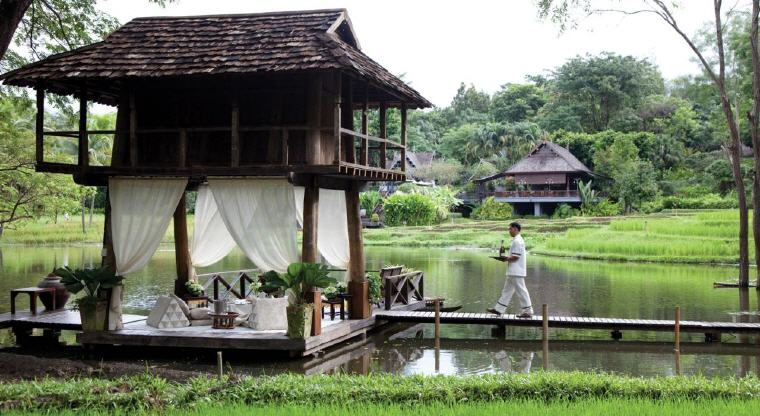 Private breakfast at the rice barn, Four Seasons Resort Chiang Mai