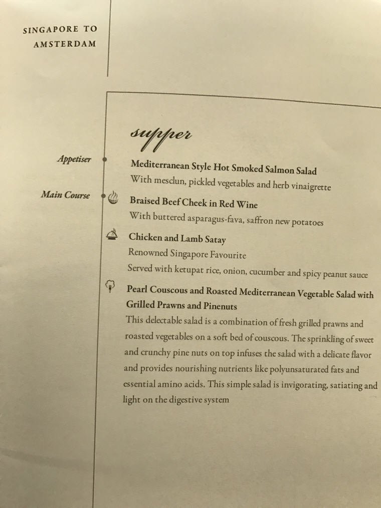 SQ Business Class Menu Singapore to Amsterdam