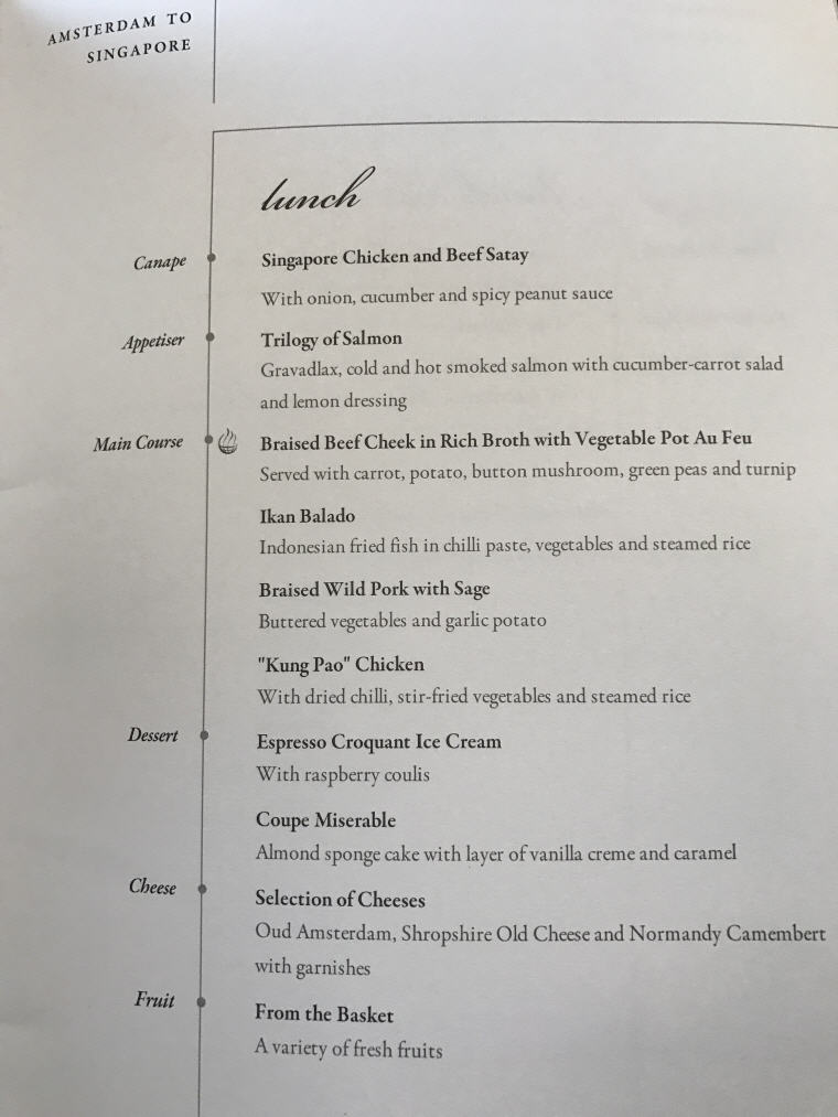 SQ323 A350 Business Class Lunch Menu, Amsterdam to Singapore