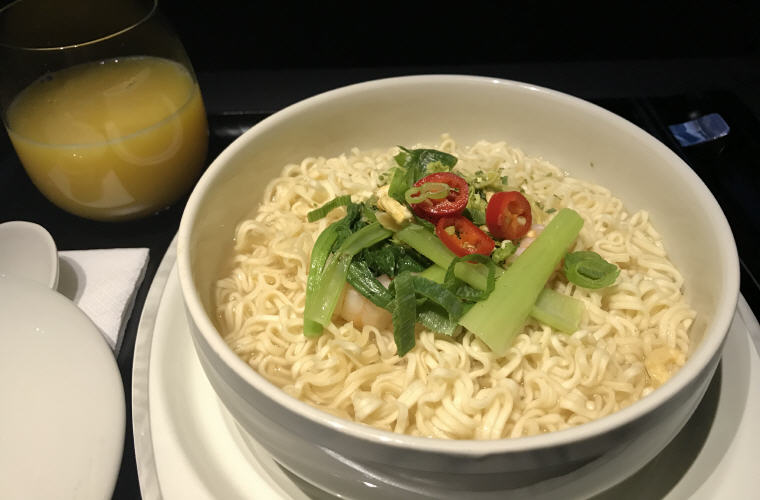 Seafood Noodles served with prawns and vegetables, SQ323 A350 Business Class Experience