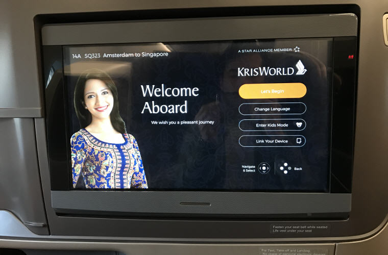 TV, SQ323 A350 Business Class