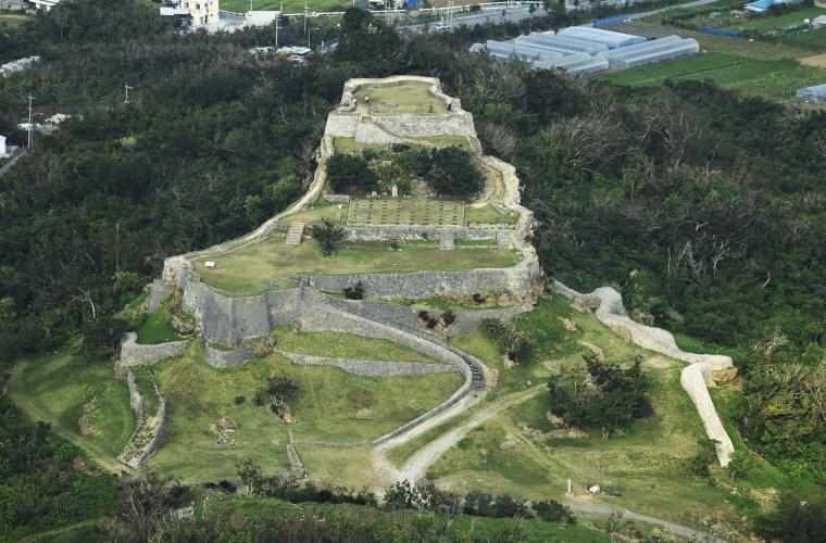 Aerial view of Katsuren-jo site