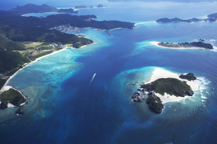 Aerial view of Zamami, Kerama Islands