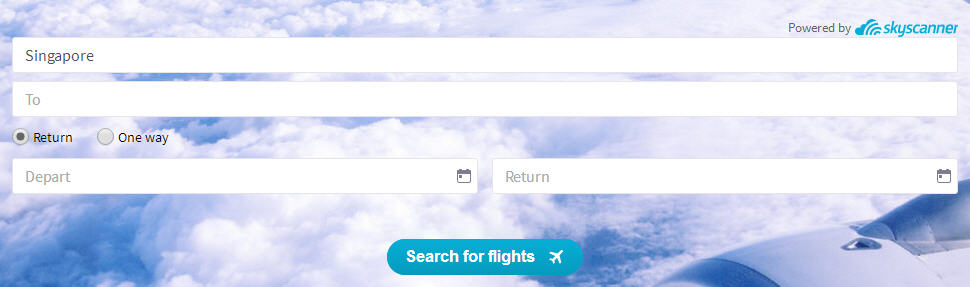 Skyscanner Search Everywhere Step 2: Leave the 'To' box blank
