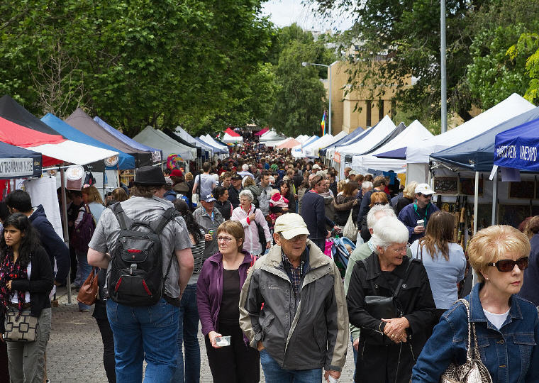 Salamanca Market, Hobart, Tasmania, Australia, 8 Destinations with the greatest price drop 2016-2017, Photo credit: JJ Harrison, Wikipedia