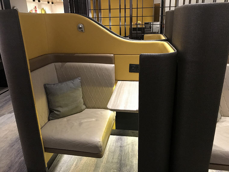 Mock Cabin Seat of A380 flight, Suites Class (First Class), SilverKris Lounge, Hong Kong