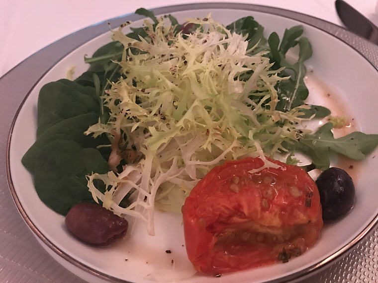 Salad of Baby Spinach, Arugula, Frisee, Roma Tomato and Kalamata Olive, SQ863 A380 Suites Class, Hong Kong - Singapore