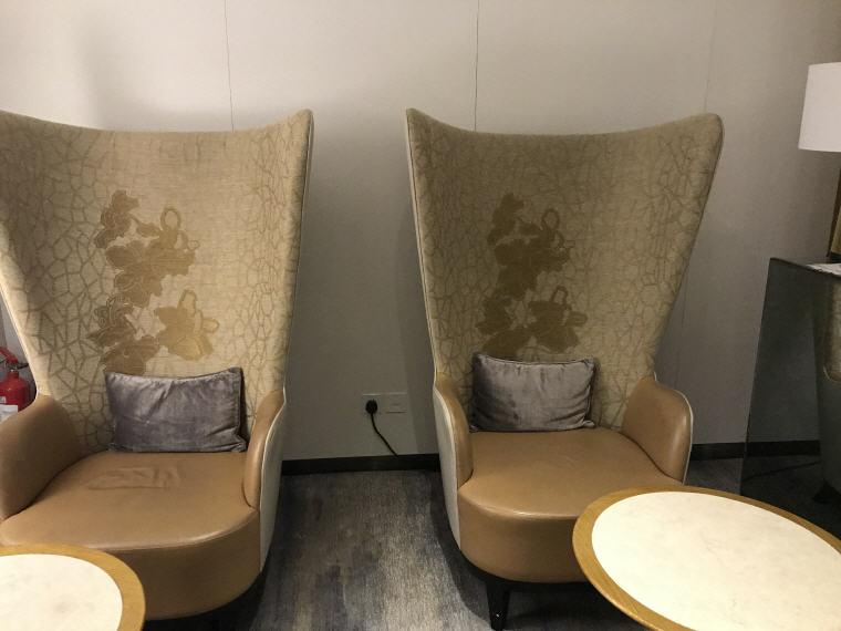 Seats in SilverKris Lounge where you can relax, Hong Kong