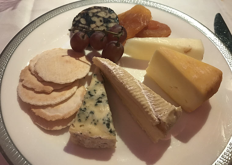 Selection of Cheese: French Brie, Arenberger, Manchego and Bleu d'Auvergne cheeses served with garnishes, SQ863 A380 Suites Class, Hong Kong - Singapore