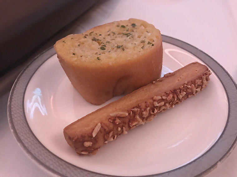 Signature Garlic Bread, and Cheese Stick, SQ863 A380 Suites Class, Hong Kong - Singapore