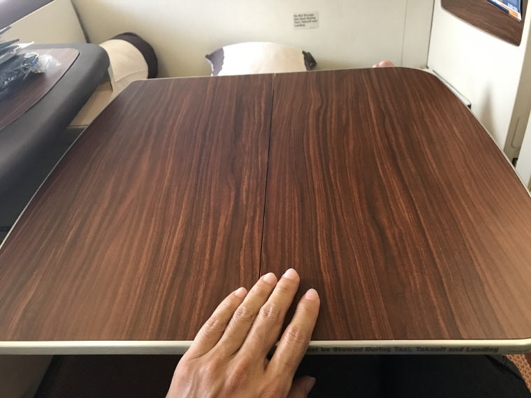 Table, Cabin Seat 3A, SQ863 A380 Suites Class, Hong Kong – Singapore
