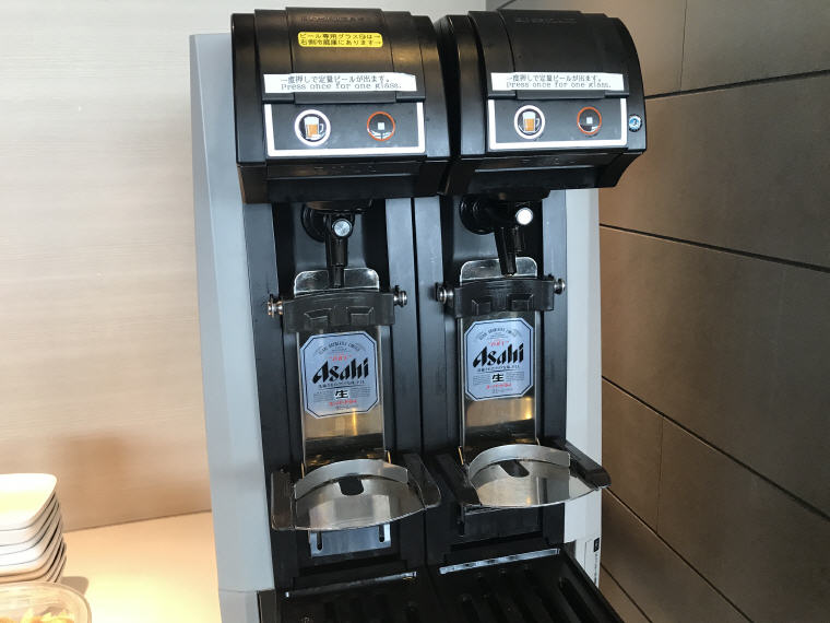 Beer Machine, ANA Lounge, SQ 633 A350 Business Class Experience Tokyo - Singapore