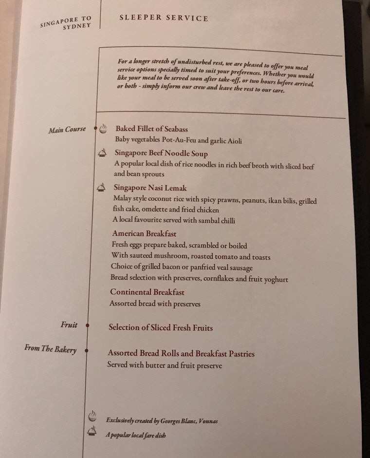 Menu, Sleeper Service, SQ 231 A380 Suites Class Experience Singapore to Sydney