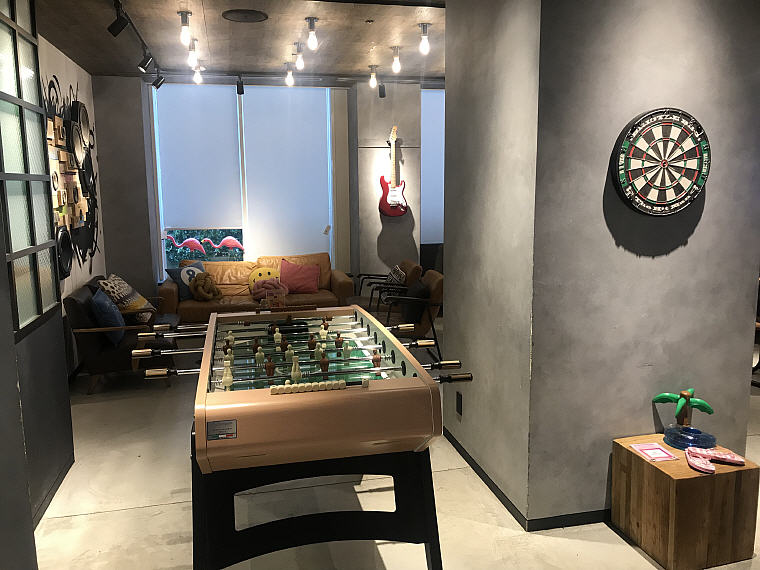 If you are feeling restless, you can also have a game of table-soccer, MOXY Osaka Honmachi