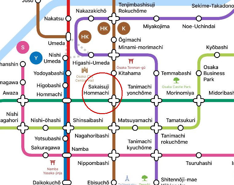 Sakaisuji Hommachi Station, Metro Map, Hotel Review: MOXY Osaka Honmachi by Marriott, Osaka, Japan