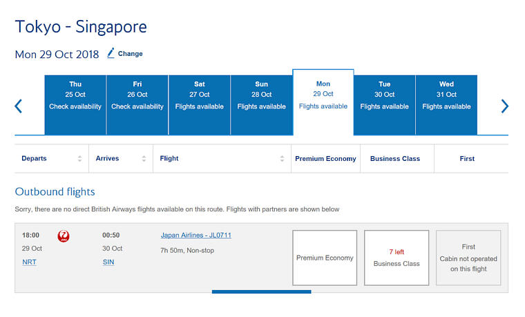 Sample JAL Business Class Flight Search for Tokyo - Singapore