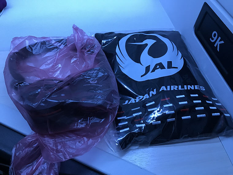 Headphone and Amenity Kit, JAL SKY SUITE 777 Business Class