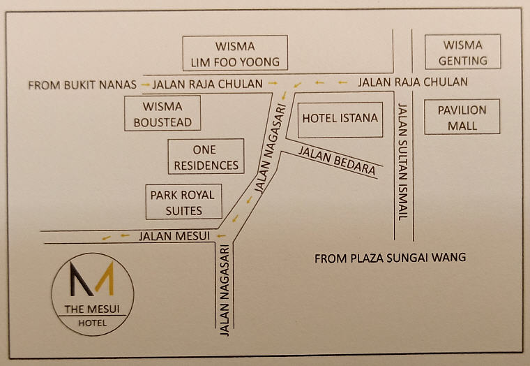 Hotel Mesui's Direction: Jalan Chulan to Jalan Nagasari and then turning directly into Jalan Mesui