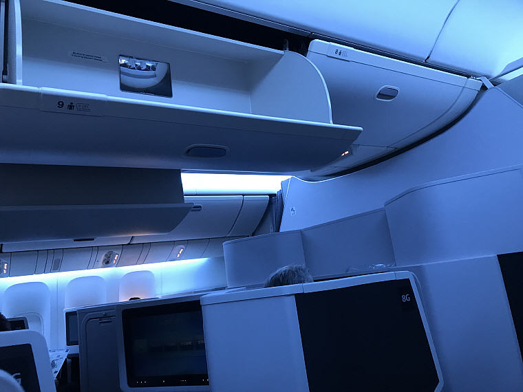 Overhead Compartments, JAL SKY SUITE 777 Business Class