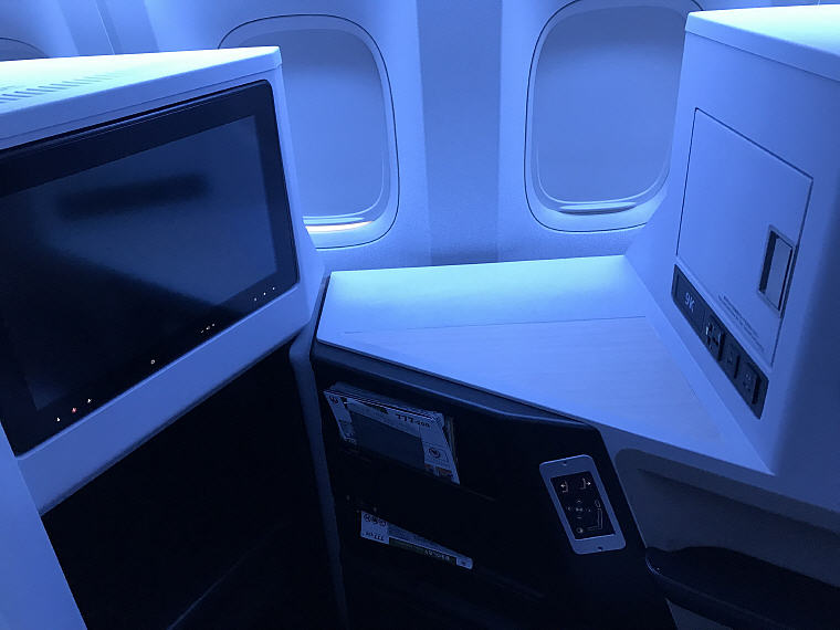 TV and Side Table, Seat 9K, JAL SKY SUITE 777 Business Class
